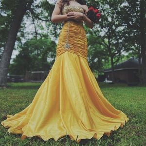 Golden Yellow Jeweled Prom dress